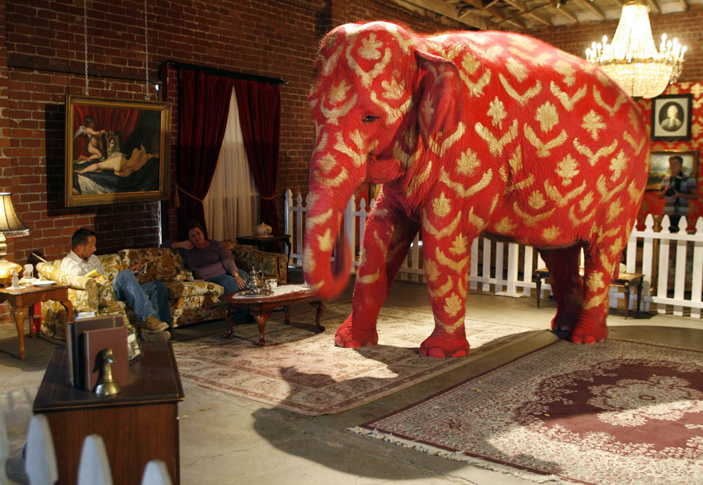 "Kunstwerk van Banksy ""Elephant in the room"""